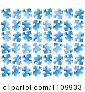 Poster, Art Print Of Background Pattern Of Blue Jigsaw Puzzle Pieces
