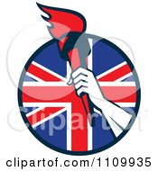 Clipart Retro Athlete Holding Up A Flaming Torch Over A British Union Jack Flag Circle Royalty Free Vector Illustration