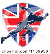 Clipart Sprinter Running Over A British Union Jack Flag Shield Royalty Free Vector Illustration