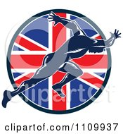 Sprinter Running Over A British Union Jack Flag Circle