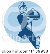 Clipart Retro Waiter Serving A Platter Over A Blue Circle Royalty Free Vector Illustration
