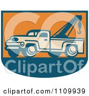 Clipart Retro Tow Truck On Orange And Blue Royalty Free Vector Illustration by patrimonio