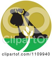 Clipart Silhouetted Landscaper With A Shovel And Plant Royalty Free Vector Illustration by patrimonio