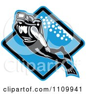 Clipart Retro Scuba Diver Swimming Over A Blue Diamond Royalty Free Vector Illustration