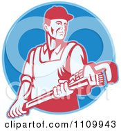 Clipart Retro Plumber Holding A Large Adjustable Monkey Wrench On A Blue Circle Royalty Free Vector Illustration