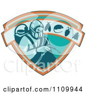 Clipart Retro Exterminator Pest Control Worker Using Spray On A Shield With A Rat Mouse Fly And Cockroach Royalty Free Vector Illustration