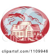 Clipart Retro Woodcut House With Smoke Rising From The Chimney Royalty Free Vector Illustration