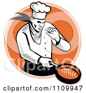 Clipart Retro Chef Cooking With A Frying Pan Over An Orange Circle Royalty Free Vector Illustration
