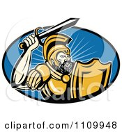 Retro Roman Soldier Holding Up His Sword Over A Blue Oval