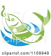 Clipart Green Fish Leaping For A Hook Over Blue Water Royalty Free Vector Illustration