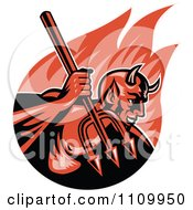 Clipart Retro Demon Devil Holding Up A Trident Over Flames Royalty Free Vector Illustration by patrimonio