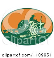 Clipart Retro Farmer Operating A Tractor And Plowing A Field In An Orange Oval Royalty Free Vector Illustration