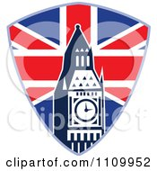 Clipart Retro British Union Jack Shield And Big Ben Clock Tower Royalty Free Vector Illustration
