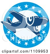 Clipart Retro Blue Airplane Over A Circle Of Stars Royalty Free Vector Illustration