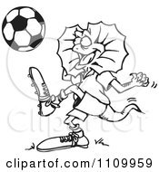 Clipart Black And White Aussie Frill Neck Lizard Playing Soccer Royalty Free Vector Illustration