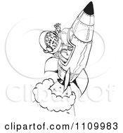 Black And White Aussie Kangaroo Astronaut In A Rocket
