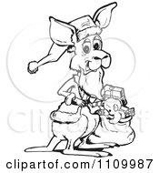 Clipart Black And White Kangaroo Santa With A Sack Royalty Free Vector Illustration