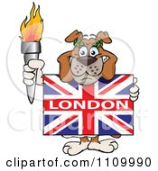 Olympic Games Bulldog Holding A Torch And British London Flags