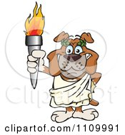 Clipart Olympic Games Bulldog Holding A Torch Royalty Free Vector Illustration by Dennis Holmes Designs