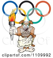 Clipart Olympic Games Bulldog Holding A Torch Under Rings Royalty Free Vector Illustration by Dennis Holmes Designs