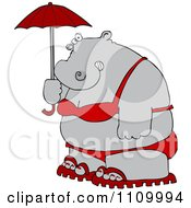 Clipart Fat Hippo Holding A Parasol And Wearing A Red Bikini And Sandals Royalty Free Vector Illustration by djart
