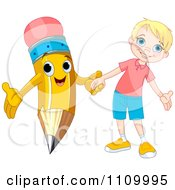 Clipart Happy School Boy Holding Hands With A Pencil Royalty Free Vector Illustration by Pushkin