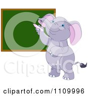 Clipart Cute Student Elephant Writing On A School Chalk Board Royalty Free Vector Illustration by Pushkin