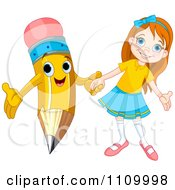 Clipart Happy School Girl Holding Hands With A Pencil Royalty Free Vector Illustration by Pushkin