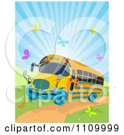 Clipart Schoool Bus Driving Down A Path With Colorful Butterflies And Sunshine Royalty Free Vector Illustration by Pushkin