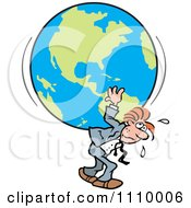 Clipart Burdened Businessman Carrying The Weight Of The World On His Back Royalty Free Vector Illustration