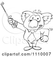 Clipart Black And White Aussie Koala Teacher Using A Pointer Royalty Free Vector Illustration by Dennis Holmes Designs
