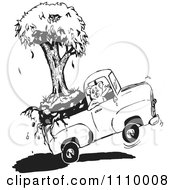 Clipart Black And White Aussie Koala Transporting A Tree In A Truck Royalty Free Vector Illustration