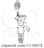 Clipart Black And White Aussie Female Koala Playing Tennis 2 Royalty Free Vector Illustration by Dennis Holmes Designs