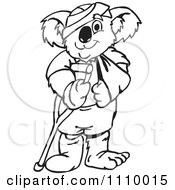 Clipart Black And White Aussie Koala With Injuries Royalty Free Vector Illustration