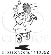 Clipart Black And White Aussie Female Koala Playing Tennis 1 Royalty Free Vector Illustration by Dennis Holmes Designs