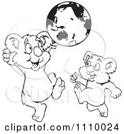Clipart Black And White Aussie Koalas Playing With A Globe Royalty Free Vector Illustration
