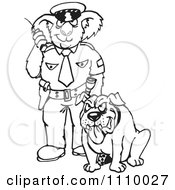 Clipart Black And White Aussie Koala Police Officer With A Dog Royalty Free Vector Illustration