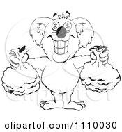 Clipart Black And White Aussie Koala Holding Full Money Bags Royalty Free Vector Illustration