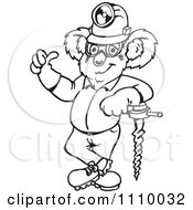Clipart Black And White Aussie Koala Miner Worker Holding A Thumb Up Royalty Free Vector Illustration by Dennis Holmes Designs