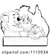 Clipart Black And White Aussie Koala Hugging A Platypus And Kookaburra Over An Australia Map And Banner Royalty Free Vector Illustration by Dennis Holmes Designs