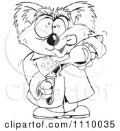 Clipart Black And White Aussie Mad Scientist Koala Royalty Free Vector Illustration by Dennis Holmes Designs