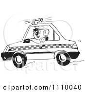 Clipart Black And White Aussie Koala Police Officer Driving A Car Royalty Free Vector Illustration