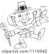 Clipart Black And White Aussie Koala St Patricks Day Leprechaun Royalty Free Vector Illustration by Dennis Holmes Designs