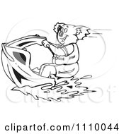 Clipart Black And White Aussie Koala On A Jetski Royalty Free Vector Illustration