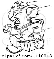 Clipart Black And White Aussie Koala Doctor Running Royalty Free Vector Illustration by Dennis Holmes Designs