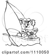 Clipart Black And White Aussie Koala Captain Sailing Royalty Free Vector Illustration by Dennis Holmes Designs