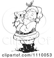 Clipart Black And White Santa Hugging A Koala Royalty Free Vector Illustration