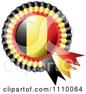 Clipart Shiny Belgium Flag Rosette Bowknots Medal Award Royalty Free Vector Illustration by MilsiArt