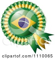 Clipart Shiny Brazilian Flag Rosette Bowknots Medal Award Royalty Free Vector Illustration by MilsiArt