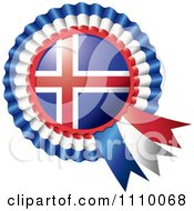 Clipart Shiny Iceland Flag Rosette Bowknots Medal Award Royalty Free Vector Illustration by MilsiArt
